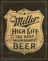 Miller High Life Shield Vintage Retro Tin Metal Sign 13 x 16in