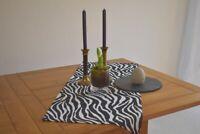 Tischläufer Provence 45x100 cm schwarz weiß Zebramotiv aus Frankreich
