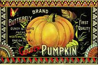 Wood Sign~Shelf Sitter~Pumpkin~Thanksgiving Garden Decor~Vintage Image~Handmade