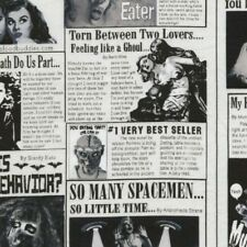 Zombie Newspaper Black and White Cotton Quilting Fabric 1/2 YARD