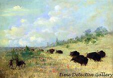 Elk & Buffalo Grazing in Prairie Flowers - 1847 - George Catlin Art Print