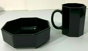 Black Octagon Ceramic Coffee Mug Soup Bowl Arcoroc France 8 Sided Vintage