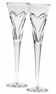 Waterford Wishes Love and Romance Flutes, Set of 2 NEW