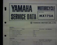 1973-74 Yamaha MX175A, MX175 Service Data specification booklet, Workshop manual