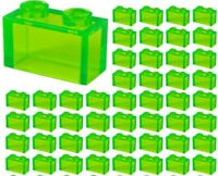 ☀️NEW LEGO Lot Of 50 1X2 Bricks Transparent Clear Green Trans-Green Translucent