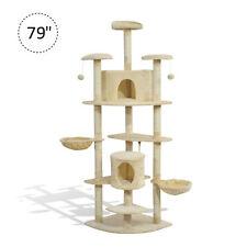 "Luxury 79"" Scratching Cat Tree Condo Kitten Scratch Activity Center Toys Beige"