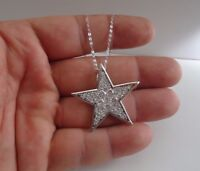 LARGE STAR NECKLACE PENDANT W/ LAB DIAMONDS/ 925 STERLING SILVER / 18'' CHAIN