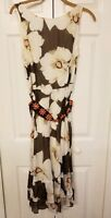 Luca Luca Womens Sleeveless Square Neck A Line Dress Floral Silk Size Italian 48