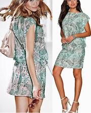 Paisley Kleid Tunika Strandkleid GR. 44 pastell grün bedruckt 924740 Neu