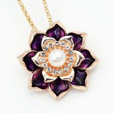 Betsey Johnson Purple Enamel Lotus Flower Pendant Women's Necklace/Brooch Pin