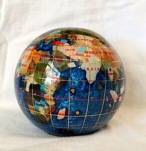 "Unique Art 4.3"" (110 mm) Diameter Gemstone Globe Paperweight Paperweight Bahama"