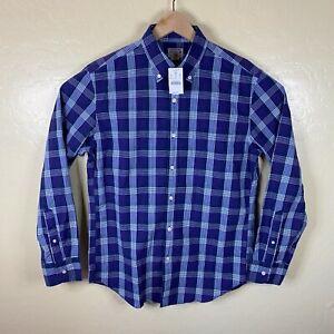 J Crew Button Down Shirt Mens Medium Purple Plaid Long Sleeve Woven New