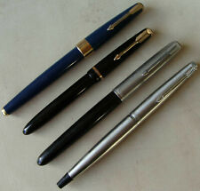 "4 x Vintage Parker Pens ""51"", Slimfold, ""17"" and ""45"" Cartridge Fountain"