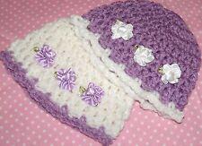 2-Handmade Crochet Baby Girl Hat Beanie Set of 2 Lilac & White  Newborn