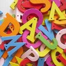 26 Mixed Colour Wooden Alphabet Letter Charms / Pendants A - Z Letters (BOX44)