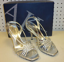 Anne Klein New Womens Aplik Silver Strappy Slingbacks 6.5 M Heels Shoes