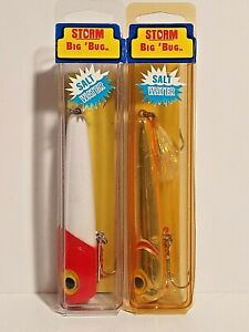 "Pre Rapala Vintage Storm ""BIG BUG"" Topwater Lure - White/ Red Head & Met. Gold"