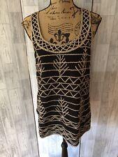 Topshop Boutique Black Short Sleeveless Tunic Dress With Gold Studs Uk10