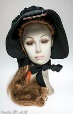 Pioneer Bonnet Ladies Black Pilgrim Puritan Historical Costume Headpiece OS