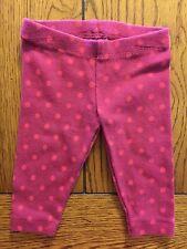 Gymboree Girls Sweet Music Fuchsia Polka Dot Leggings Size 3-6 Months