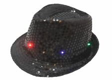 Smiffys Black Sequin Trilby Hat Light Up LED Gangster Fancy Dress Accessory