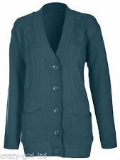 Womens 5 Button Cable Knit Winter Ladies Cardigan Knitted Jumper Size 8 10 12 14 Small / Medium Teal