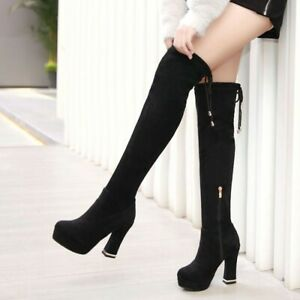 Women's Over The Knee Boots Thigh High Stretch Upper Round Toe 10cm Heel Shoes D