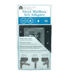 Architectural Mailboxes - 3-Way Steel Mailbox 4x4 Adapter - Black - 7540B-10