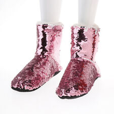 Women Sequins Winter Boots Thermal Warm Fleece Slippers Socks Slip on Shoes
