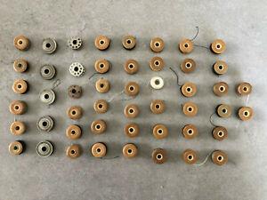 Sewing Machine Bobbin Antique / Vintage Lot of 49 Bobbins w/ Thread