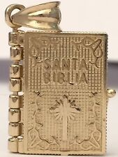 Religous 14K Yellow Gold Santa Biblia Holy Book Two Side Cross Charm Pandent