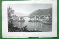 GERMANY Junction of Rivers Fulda & Werra - CPT BATTY Antique Print Engraving