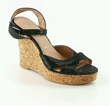 Jeffrey Campbell Black Leather Cork Wedge  Ankle Strap Sandals Size 10M - NWOB