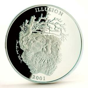 Uganda 2000 shillings Illusion Spirit Of the Mountain proof silver coin 2001