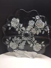 "14"" Crystal Cake Stand /revesible plate/bowl function Embossed Roses wedding"