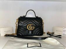 Sale! New Authentic Gucci GG Marmont Matelassé Mini Top Handle Bag Black