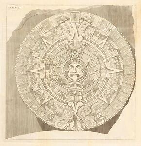 "Antonio de Leon : ""Aztec Calendar (Sun) Stone"" (1792) — Giclee Fine Art Print"