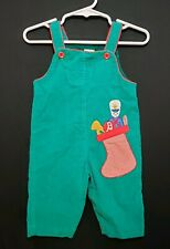Vtg Baby Togs Boy's Holiday Christmas Portrait Green Corduroy Overalls 3M - 6M