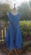 Handmade ruched Alice dress in teal size 14