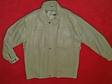 Men's 3/4 Leather Coat in Bone-Beige Heavy Quality Leather Sharp Style  Size XL