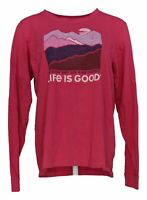 Life is Good Women's Sz L Printed Long Sleeve Cotton Crusher Tee Top Red A374041