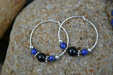 Earrings. Sterling Silver, Lapis Lazuli & Black Onyx. Handmade