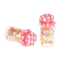 2pcs 1:12 Dollhouse Miniature Glass Candy Canister Mini jar Food Decor Hs
