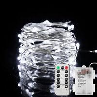 Lichterkette 10M 100LEDs Gartenluechte Weihnachtsdeko mit Fernbedienung Timer DE