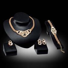4 Piece Women Wedding Party Rhinestone Necklace Bracelet Ring Earrings Set Gift
