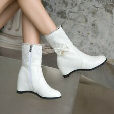 Women Mid Calf Knight Boots Wedge Hidden Heel Lace Round Toe Casual Bowknot Shoe