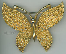 Trifari Gold-tone Butterfly Figural Pin Brooch Vintage Textured