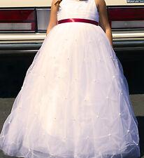 Davids Bridal Tulle Flower Girl Tea Length Dress sz 8 With Pearl Pick-Ups WG1369