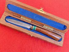 Kelgan Custom handmade Damascus fixed blade turquoise & wood knife in box