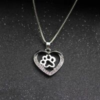 Haustier Liebhaber Silber Langkettige Halskette Kristall Herz Paw Anhänger